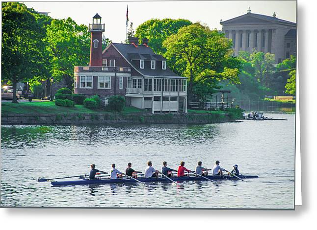 Greeting Card featuring the photograph Rowing Crew In Philadelphia In The Spring by Bill Cannon