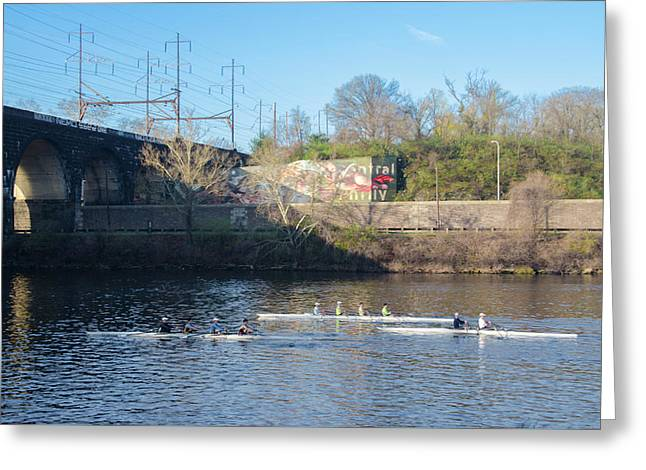 Rowing Crew In Philly Greeting Card by Bill Cannon