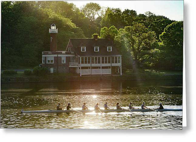 Greeting Card featuring the photograph Rowing In Front Of Segley Club by Bill Cannon