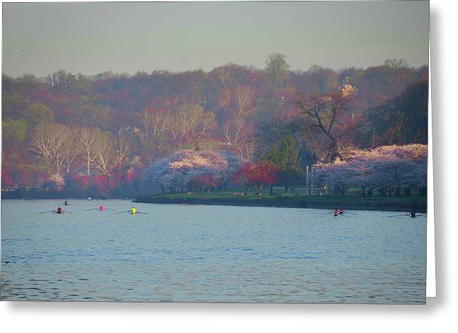 Rowing In Spring On The Schuylkill River Greeting Card by Bill Cannon