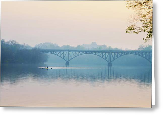 Rowing On The Schuykill In The Springtime Greeting Card by Bill Cannon