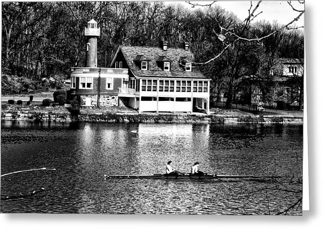 East River Drive Greeting Cards - Rowing Past Turtle Rock Light House in Black and White Greeting Card by Bill Cannon