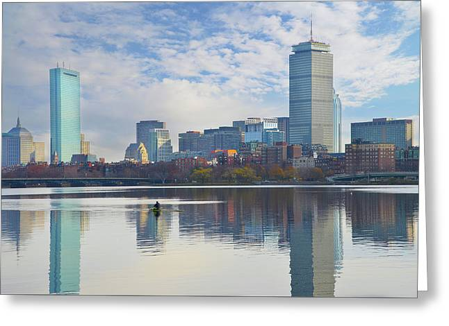 Rowing The Charles River - Boston Massachusetts Greeting Card by Bill Cannon