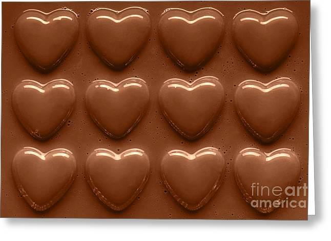 Rows Of Chocolate Hearts  Greeting Card by Richard Thomas