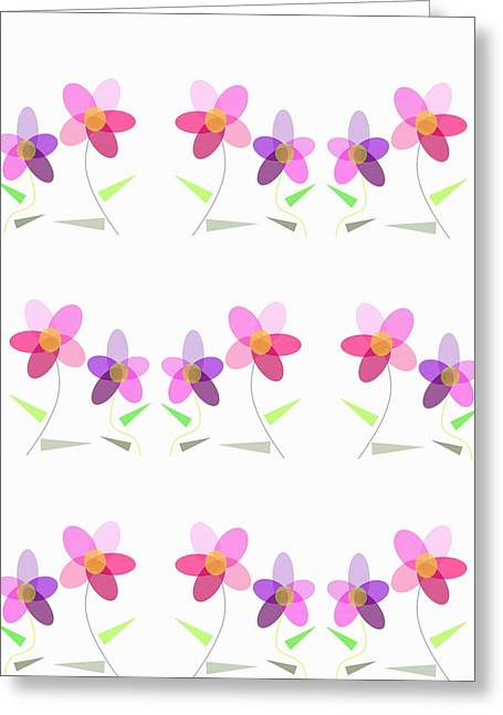 Rows Of Flowers Greeting Card