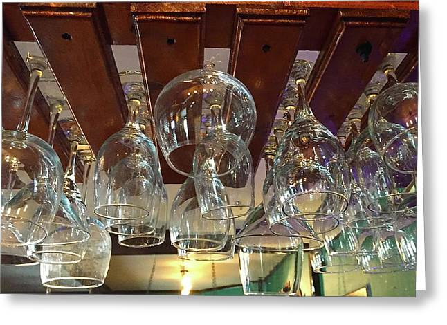 Rows Of Hanging Glasses Greeting Card by Denise Mazzocco