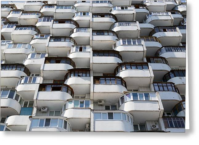 Rows Of Old Residential Window Urban Flats Greeting Card