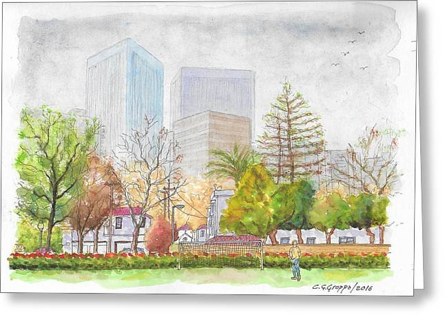 Roxbury Park In Beverly Hills With Century City In The Background, Ca Greeting Card by Carlos G Groppa