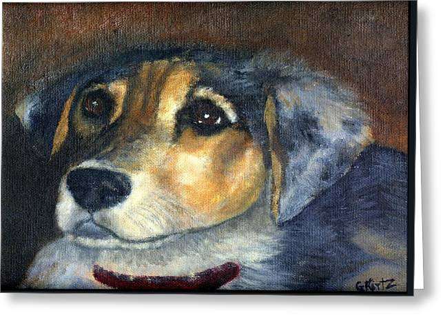 Greeting Card featuring the painting Roxie by Gail Kirtz
