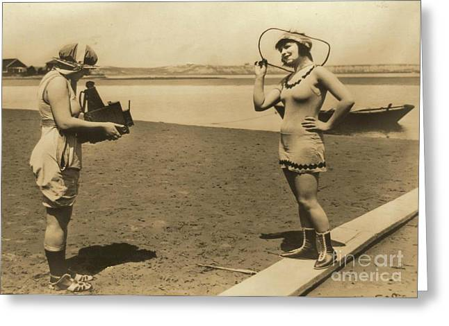 Roxy Mcgowan And Mary Thurman In Bathing Suits Greeting Card