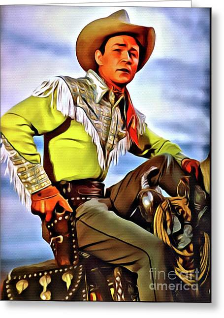 Roy Rogers, Hollywood Legend Greeting Card by Mary Bassett