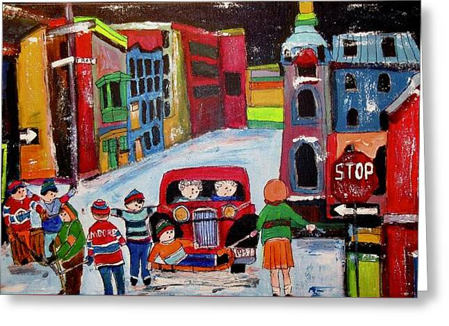 Roy Street Winter Scene Greeting Card by Michael Litvack