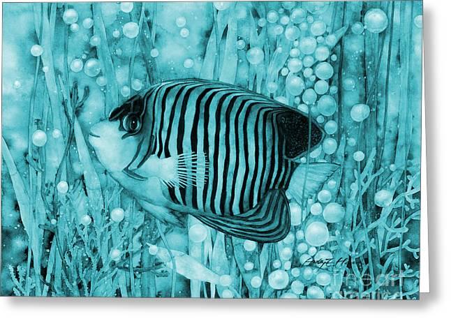Royal Angelfish On Blue Greeting Card by Hailey E Herrera