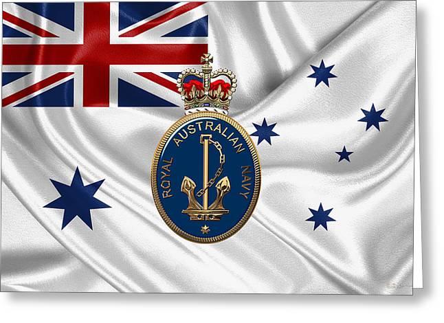 Royal Australian Navy Badge Over R A N  Ensign Greeting Card by Serge Averbukh