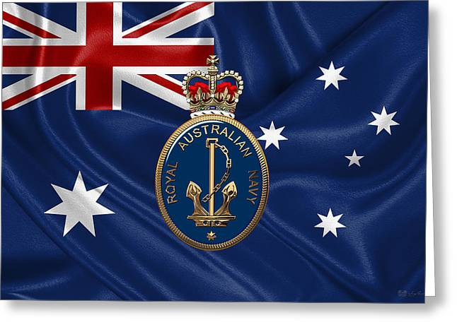 Royal Australian Navy -  R A N  Badge Over Australian Flag Greeting Card by Serge Averbukh
