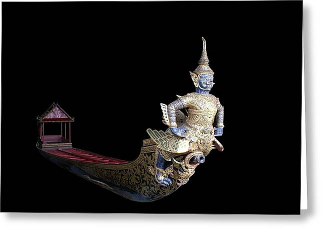 Royal Barge On Black Greeting Card by Gregory Smith