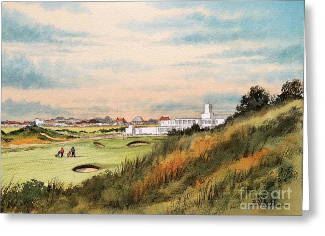 Royal Birkdale Golf Course 18th Hole Greeting Card by Bill Holkham