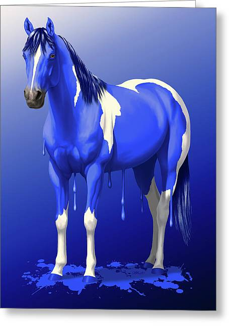 Royal Blue Wet Paint Horse Greeting Card by Crista Forest