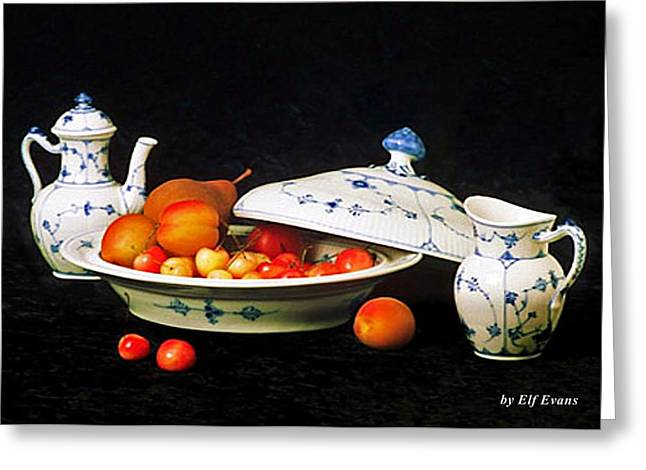 Royal Copenhagen And Fruits Greeting Card by Elf Evans