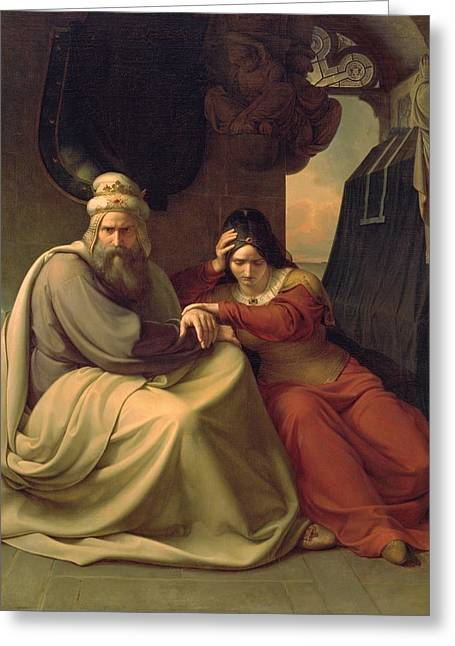 Royal Couple Mourning For Their Dead Daughter Greeting Card by Carl Friedrich Lessing