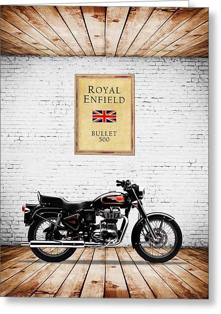 Royal Enfield Bullet 500 Greeting Card by Mark Rogan