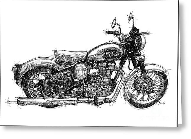 Royal Enfield C5 Classic Original Artwotk, Man Cave Decoration Gift For Men Greeting Card