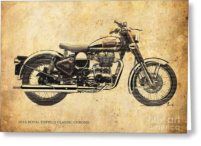 Royal Enfield Classic Chrome 2016, Poster For Men Cave Greeting Card by Pablo Franchi
