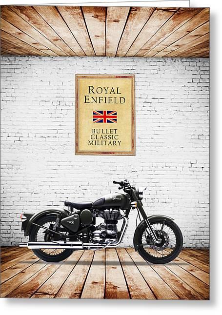 Royal Enfield Classic Military Greeting Card by Mark Rogan