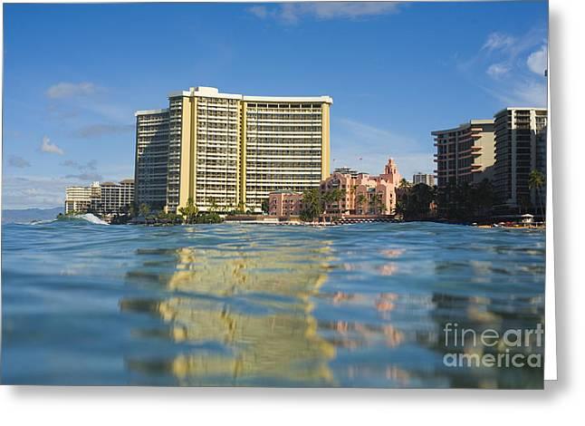 Royal Hawaiian Hotel Seen From Ocean Greeting Card