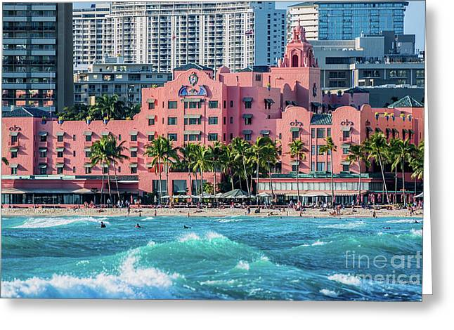 Royal Hawaiian Hotel Surfs Up Greeting Card