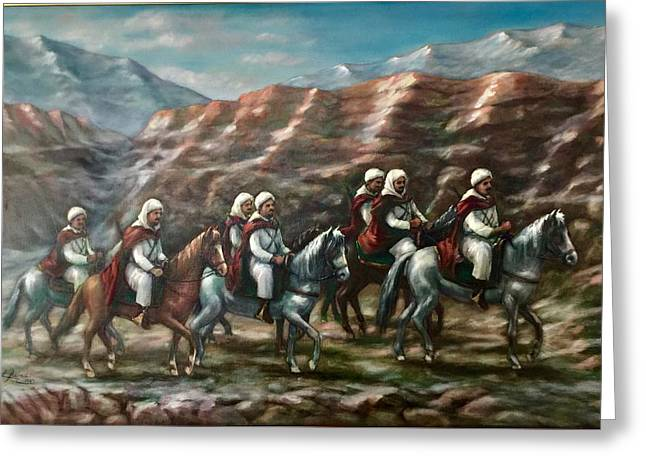 Greeting Card featuring the painting Royal Knights by Laila Awad Jamaleldin