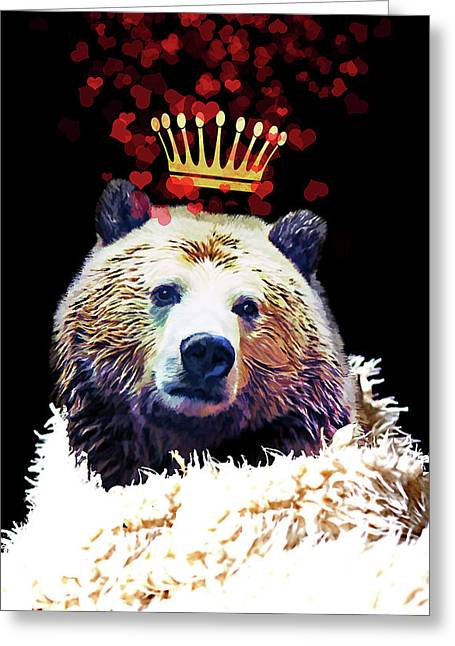 Royal Love Grizzly Bear, Golden Crown Of Hearts Greeting Card by Tina Lavoie