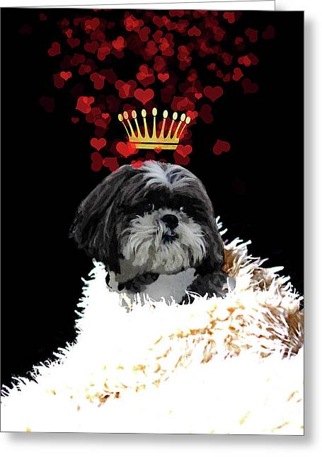 Royal Love Pup, Shi Tzu, Crown Of Hearts Greeting Card