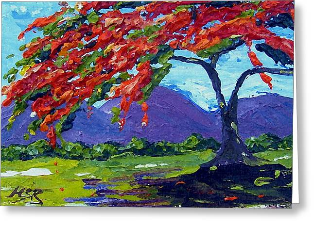 Royal Poinciana Palette Oil Painting Greeting Card by Maria Soto Robbins