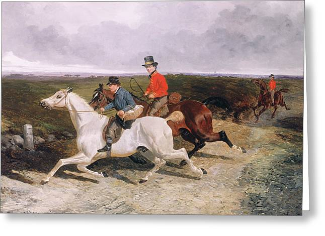 Royal Servants On The Road To Windsor Greeting Card by John Frederick Herring Snr