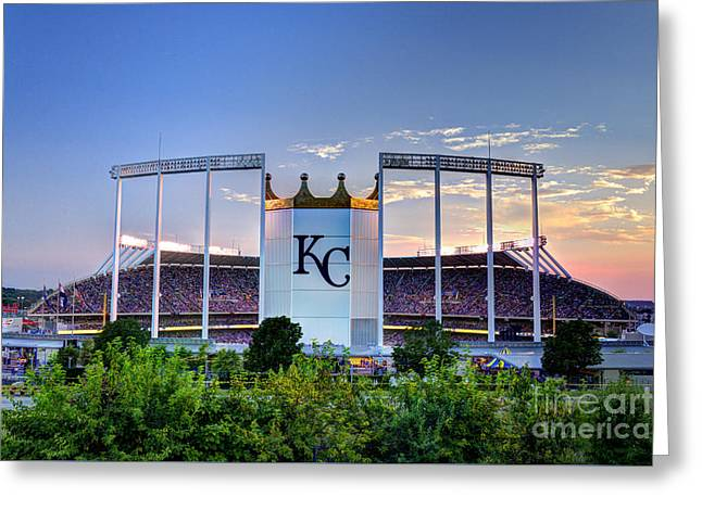 Royals Kauffman Stadium  Greeting Card by Jean Hutchison