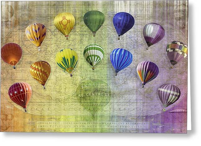 Greeting Card featuring the digital art Roygbiv Balloons by Melinda Ledsome
