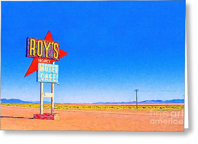 Roys Motel And Cafe Greeting Card by Wingsdomain Art and Photography