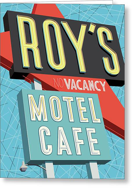 Roy's Motel Cafe Pop Art Greeting Card by Jim Zahniser