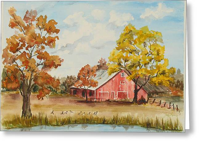 Rt 66 Barn In Bristow Oklahoma Greeting Card by Judy Loper