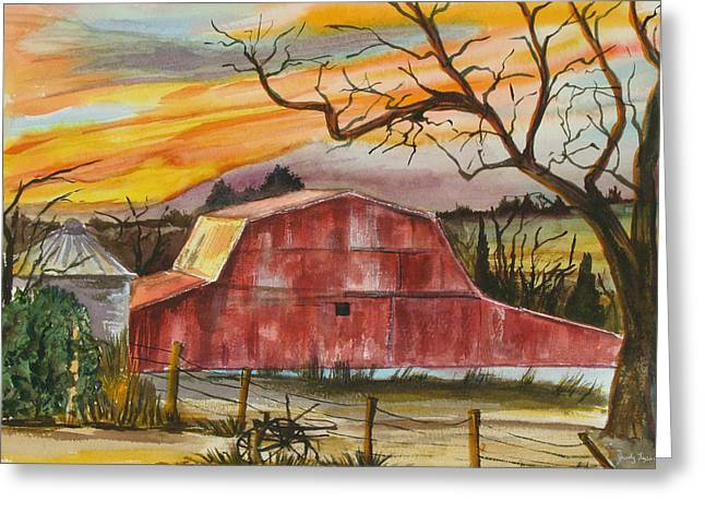 Rt 66 Barn Outside Davenport Oklahoma Greeting Card by Judy Loper