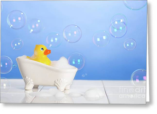 Rubber Duck In Bath Greeting Card