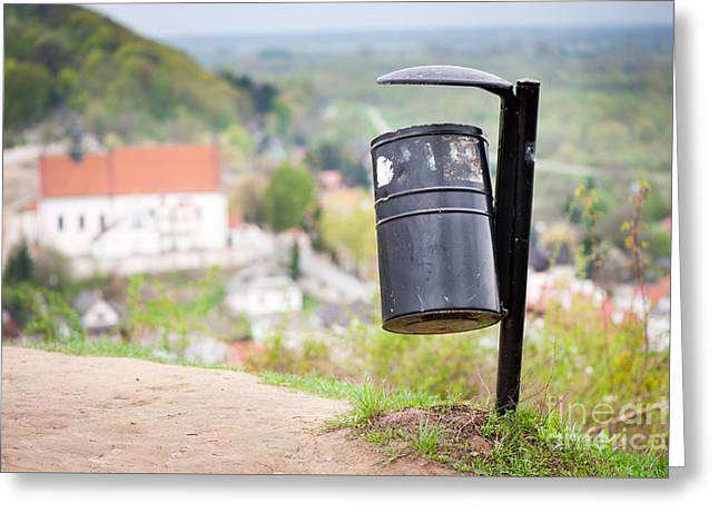 Rubbish Bin On The Hill And Blurred Dale View  Greeting Card by Arletta Cwalina