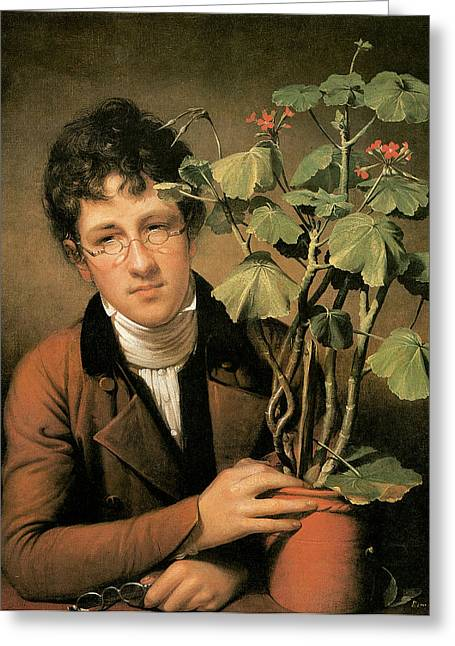 Pealed Greeting Cards - Rubens Peale with a Geranium Greeting Card by Rembrandt Peale