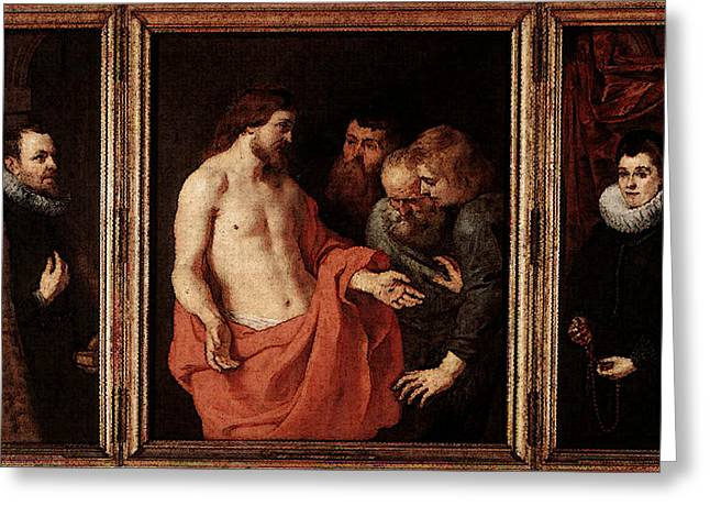 Rubens The Incredulity Of St Thomas Greeting Card by Peter Paul Rubens