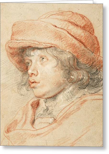 Rubens's Son Nicolaas Wearing A Red Felt Cap Greeting Card by Peter Paul Rubens