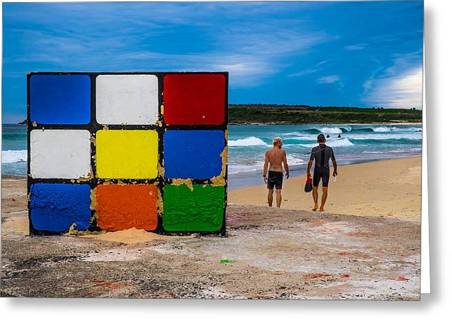 Rubiks Cube No Mystery For Surfer Boys Greeting Card by Paul Donohoe