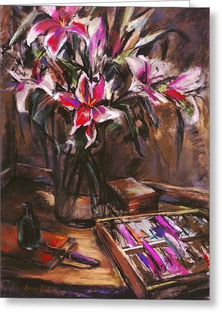 Rubirosa Lilies Greeting Card