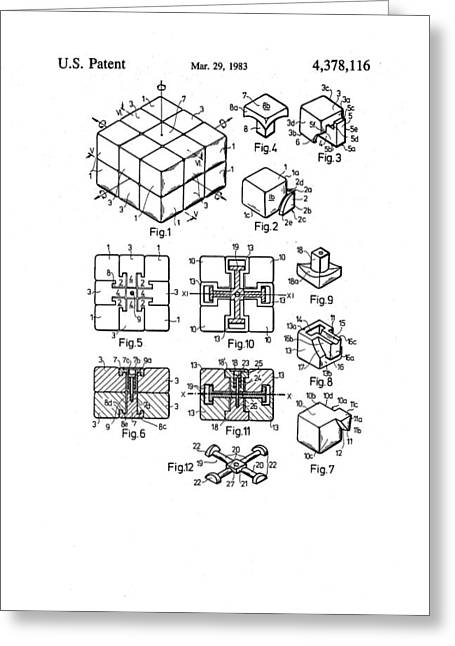 Rubix Cube Patent Drawing 1983 Bw Greeting Card by Patently Artful