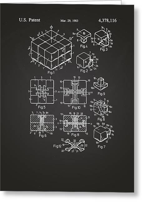 Rubix Cube Patent Drawing 1983 Chalkboard Greeting Card by Patently Artful